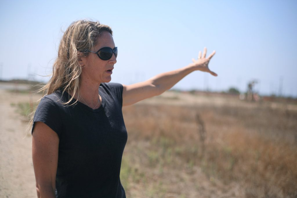 Executive Director of Newport Banning Land Trust Robyn Vettraino explains the project at a press conference on Tuesday. — Photo by Sara Hall ©