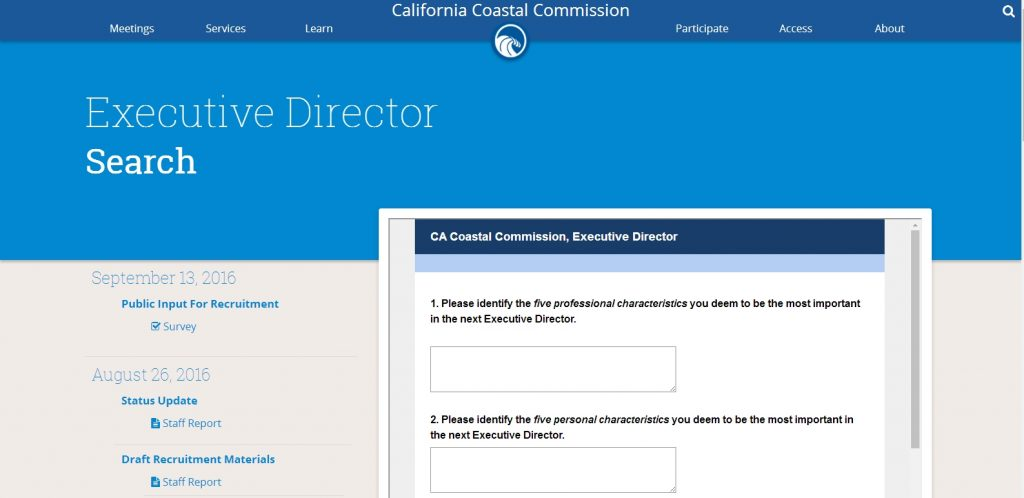 A screen shot of the California Coastal Commission public input survey for the search for the new executive director.
