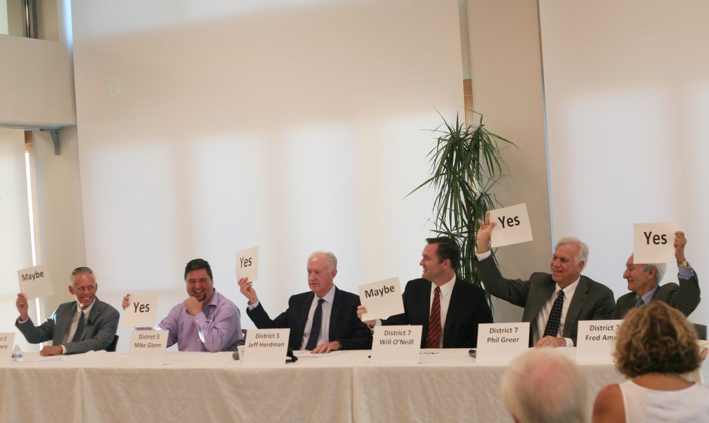 Newport Beach City Council candidates (left to right) Brad Avery for District 2, Mike Glenn and Jeff Herdman for District 5, and Will O'Neill, Phil Greer, and Fred Ameri for District 7, answer yes/no/maybe questions at the West Newport Beach Association candidate forum Wednesday. — Photo by Sara Hall ©
