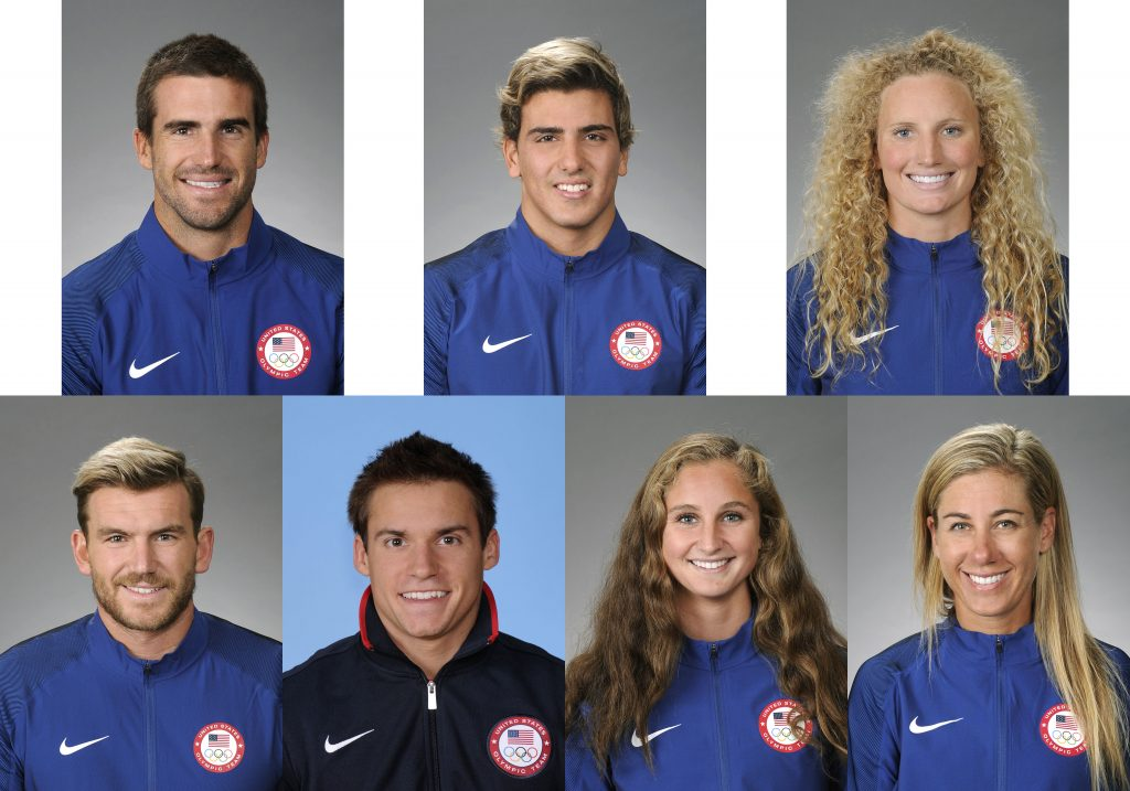 (left to right) (top row) Charlie Buckingham, Luca Cupido, Kaleigh Gilchrist, and (bottom row) John Mann, Sam Mikulak, Maddie Musselman, and April Ross. — Photos courtesy Team USA ©