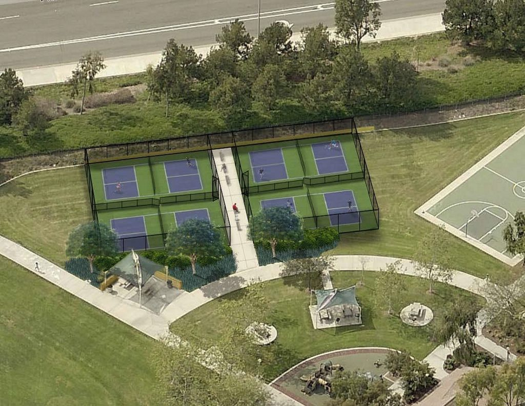 An artist's rendering of the proposed pickleball courts at Bonita Canyon Sports Park that Parks, Beaches and Recreation Commission discussed Tuesday. — Photo courtesy the city of Newport Beach ©