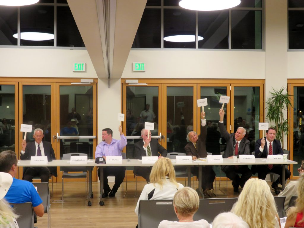 (left to right) Brad Avery for District 2, Mike Glenn and Jeff Herdman for District 5, and Fred Ameri, Phil Greer, and Will O'Neill, all for District 7, discuss the issues during the Central Newport Beach Community Association's Newport Beach City Council candidate forum on Wednesday. — Photo by Sara Hall ©