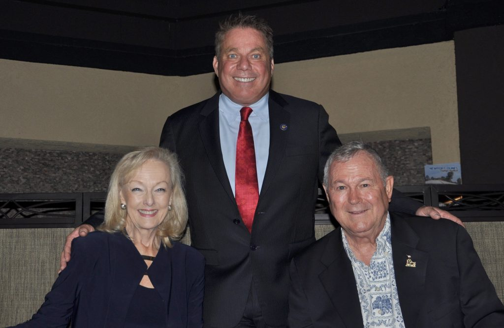 Dr. Sue Savory, Rotary President Steve Bender, Rep. Dana Rohrabacher  — Photo by Caroline Leedom ©