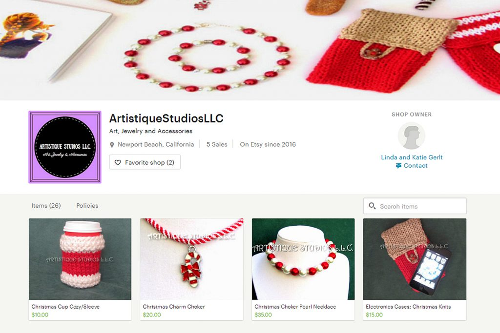 A screenshot of local mother and daughter duo Linda and Katie Gerlt's online shop, Artistique Studios, LLC.