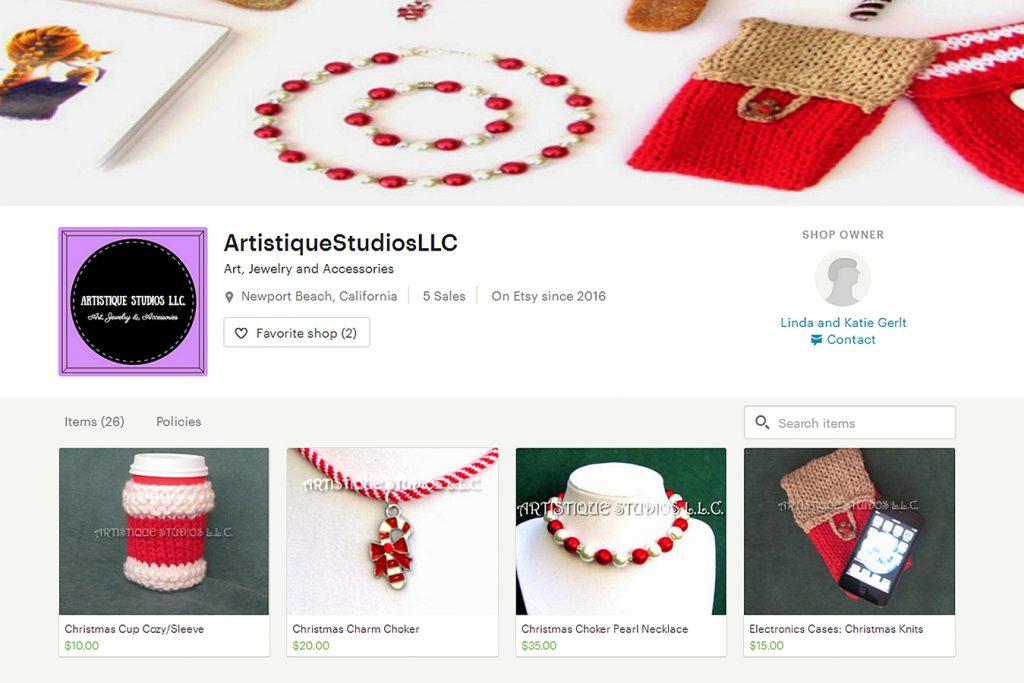 A screenshot of local mother and daughter duo Linda and Katie Gerlt's online shop, Artistique Studios, LLC.