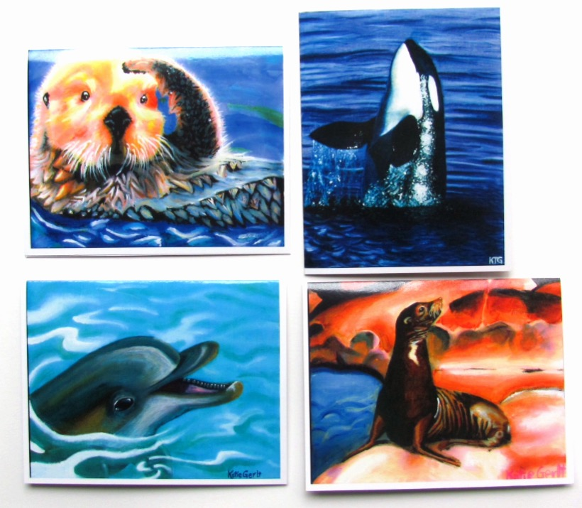 The Sea Life Collection of note cards designed by Katie Gerlt. A portion of sales will be donated to the Pacific Marine Mammal Center in Laguna Beach. — Photo courtesy Artistique Studios, LLC ©
