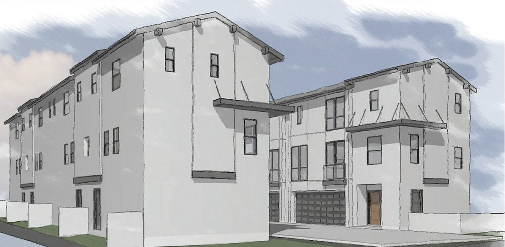 An artist's rendering of the Santa Ana Avenue Cottages, from the Santa Ana Avenue north west perspective. — Photo courtesy city of Newport Beach ©