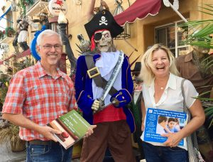 Michael Schwarzmann and Amy Peters canvassing on Halloween