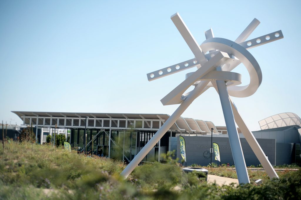"From the first phase of the sculpture garden exhibition, Ray Katz's ""Odyssey"" looms over the Newport Beach Civic Center. City Council voted 7-0 on Aug. 9 to proceed with phases III and IV of the Sculpture Exhibition in Civic Center Park. — Photo by Sara Hall ©"