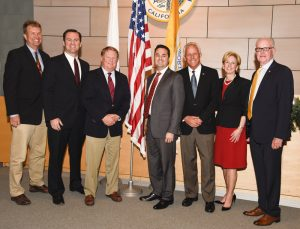 "New City Council: Scott Peotter, Will O'Neill, Mayor Pro Tem Marshall ""Duffy"" Duffield, Mayor Kevin Muldoon, Brad Avery, Diane Dixon, Jeff Herdman / photo by Lawrence Sherwin"