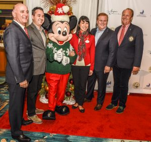 Chamber of Commerce President Steve Rosansky, Mayor Kevin Muldoon, Mickey Mouse, Disney Ambassador Allie Kawamoto, Newport Beach & Co. President and CEO Gary Sherwin, and Commodore David Beek. / photo by Lawrence Sherwin