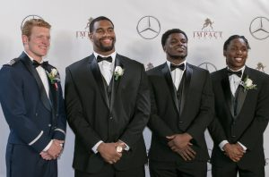 Lott Trophy finalists: Weston Steelhammer (Air Force), Jonathan Allen (Alabama), Jabrill Peppers (Michigan) and Adoree Jackson (USC). Photo by Jim Collins