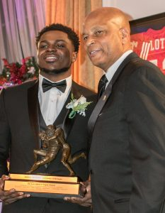 Lott Trophy winner Jabrill Peppers with Ronnie Lott. Photo by Jim Collins