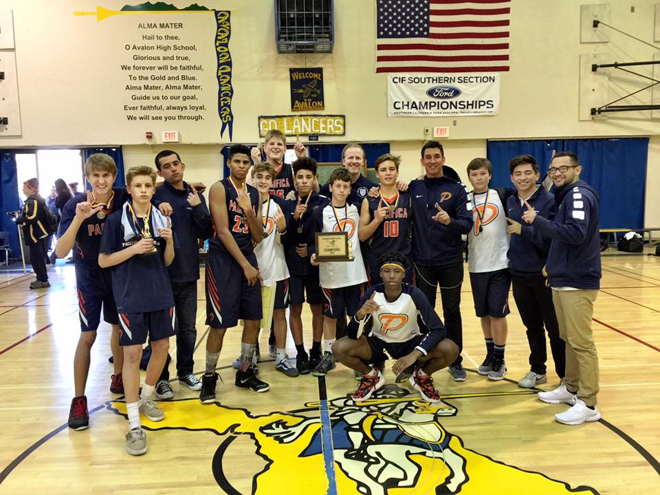 Pacifica Christian High School boys varsity basketball team wins the 2016 Catalina Classic, the first varsity tournament trophy in the Newport Beach school's history. — Photo courtesy Pacifica Christian High School ©