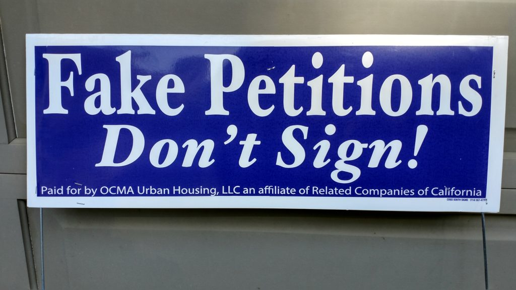"A ""fake petition"" sign. — NB Indy file photo ©"