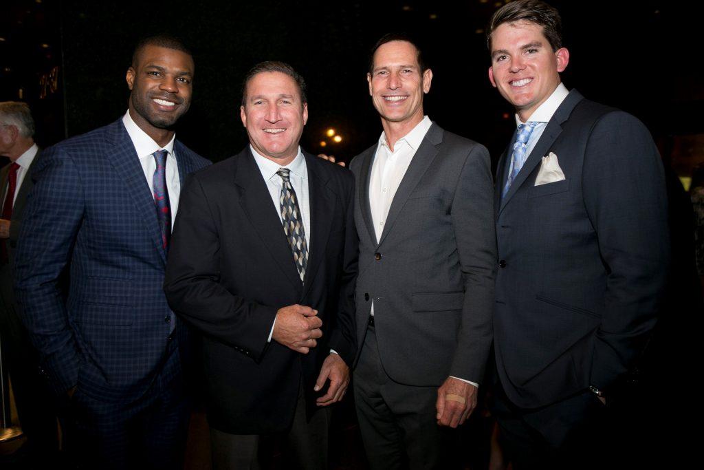 Former USC/NFL linebacker Keith Rivers, gala founding co-hosts and former star quarterbacks Matt Stevens (UCLA) and Paul McDonald (USC), Oakland A's third baseman Ryon Healy