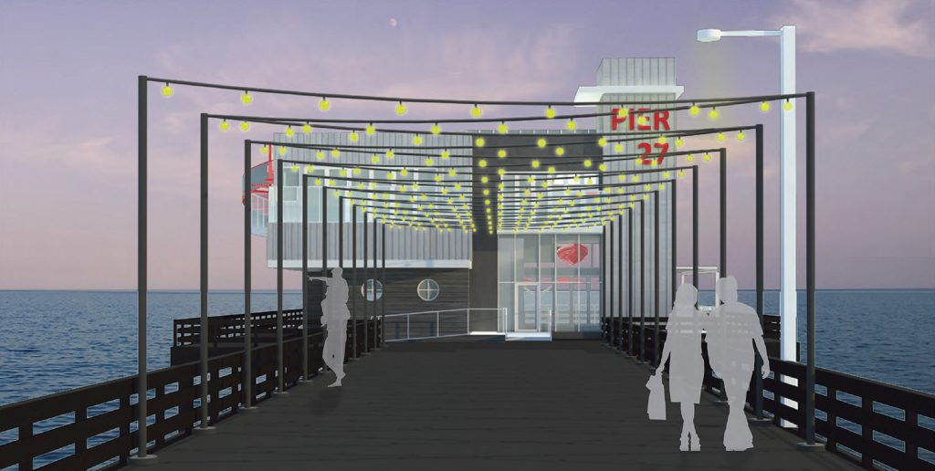 An artist rendering of the proposed Bluewater Grill restaurant at the end of the Newport Pier on the Balboa Peninsula.  — Photo courtesy Kelly Architects/Courtesy city of Newport Beach ©