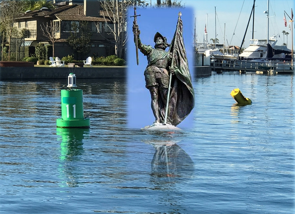 A photo composite of a statue of Juan Rodríguez Cabrillo (first European explorer to sail the California coast) at Bay Island marker in Newport Harbor.  — Photo courtesy Mike Lawler ©