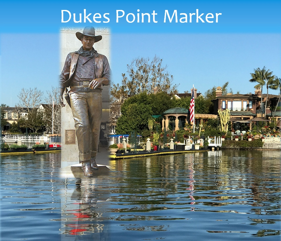 A photo composite of a possible John Wayne statue at Duke's Point in Newport Harbor, one of many statues suggested by a local boating enthusiast, in and around the harbor.  — Photo courtesy Mike Lawler ©