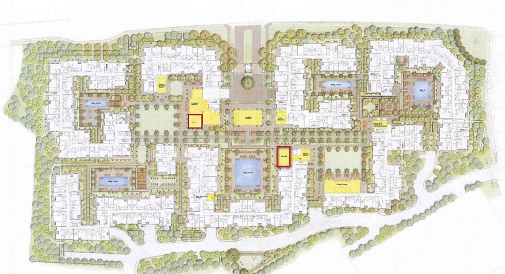 Location of the cafe and lounge outlined in red in a rending of the Villas at Fashion Island project. — Photo courtesy city of Newport Beach ©