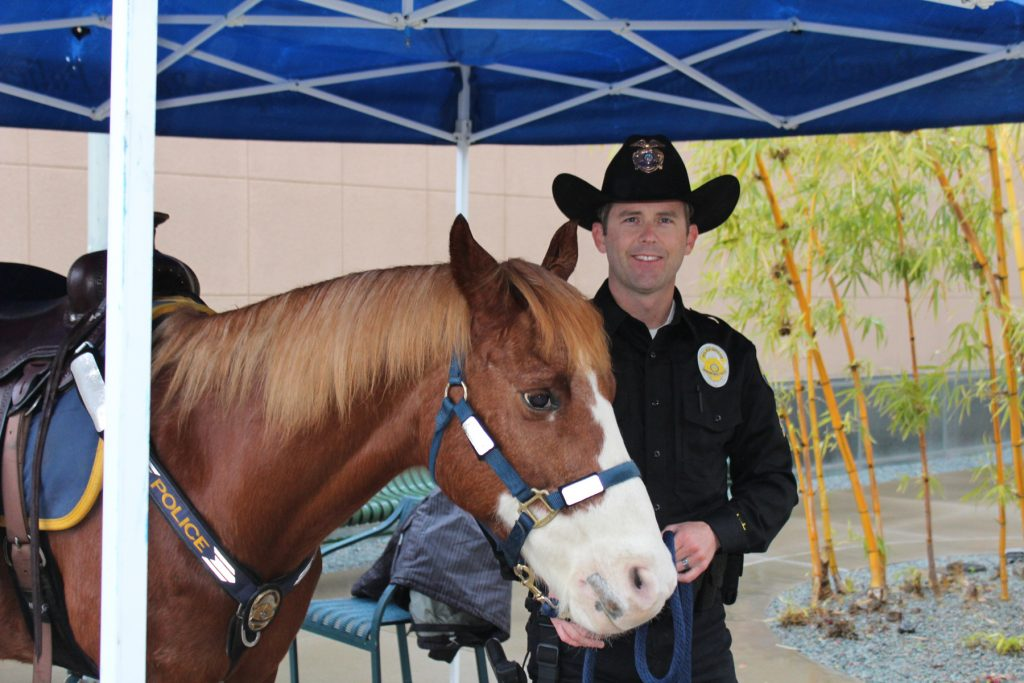 Newport Beach Police Officer Shaun Dugan and Levi, the 3-year veteran horse of NBPD, greeted guests at the Chamber's Wake Up meeting. — Photo by Victoria Kertz ©