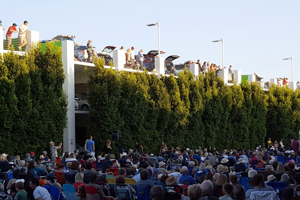 Concerts on the Green in 2016. Tailgaters can be seen on the top level of the parking garage.  — NB Indy file photo ©