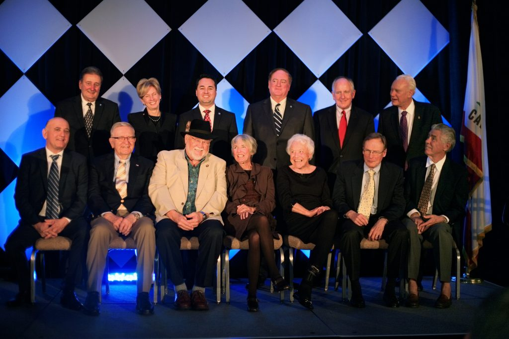 Former mayors (left to right): (top row) Ed Selich, Diane Dixon, (current mayor) Kevin Muldoon, Keith Curry, John Heffernan, Rush Hill; (bottom row) Steve Rosansky, Clarence Turner, Don Webb, Nancy Gardner, Evelyn Hart, Tom Edwards, and Tod Ridgeway. — Photo by Sara Hall ©