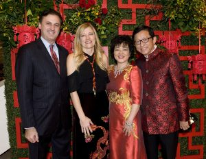- (left to right) John Forsyte, President of the Pacific Symphony, Michele Forsyte, Event Chair Ling Zhang, and Event Chair Charlie Zhang. / Photo by Nick Koon