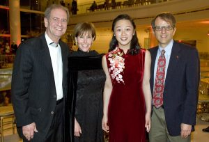 (left to right) Doug Freeman, Lynn Freeman, Pianist Fei-Fei Dong, and Walter Stahr