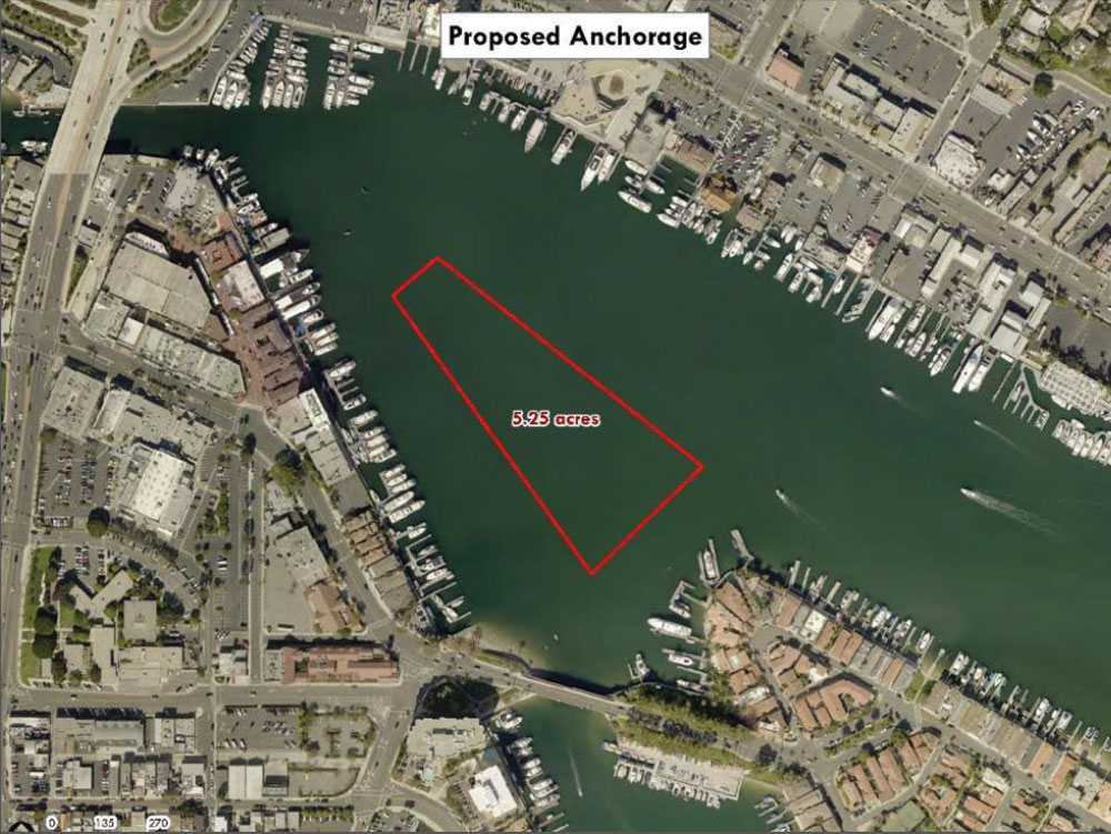 The proposed trial anchorage area shown in a map used in previous years. — Photo courtesy city of Newport Beach ©