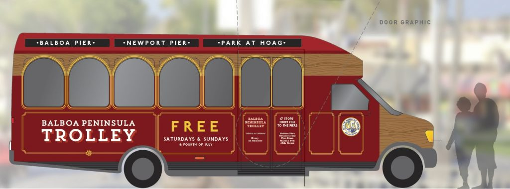 A rendering of the proposed Balboa Peninsula Trolley, a free shuttle service for summer weekends on the peninsula. — Courtesy of the city of Newport Beach ©