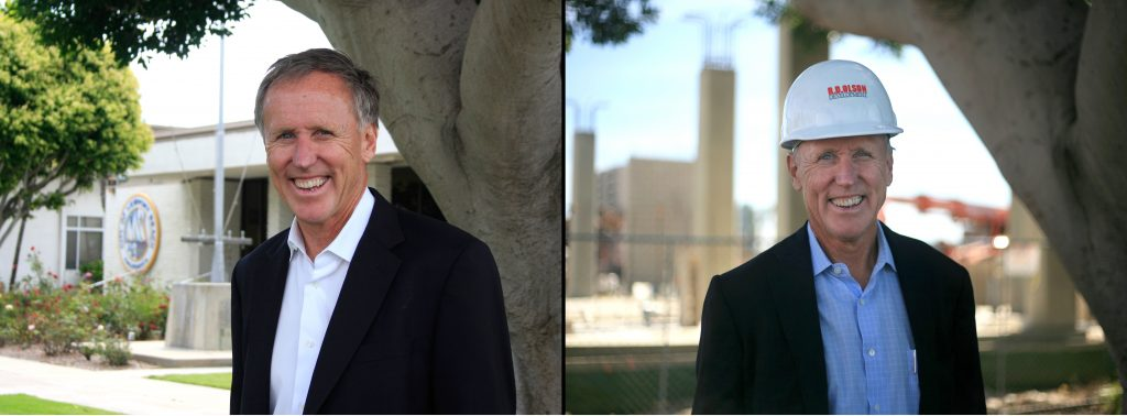 Then and Now: Bob Olson in 2013 (left) near one of the preserved ficus trees and Olson in 2017 in the same spot in front of the construction of Lido House Hotel. — Photos by Sara Hall ©