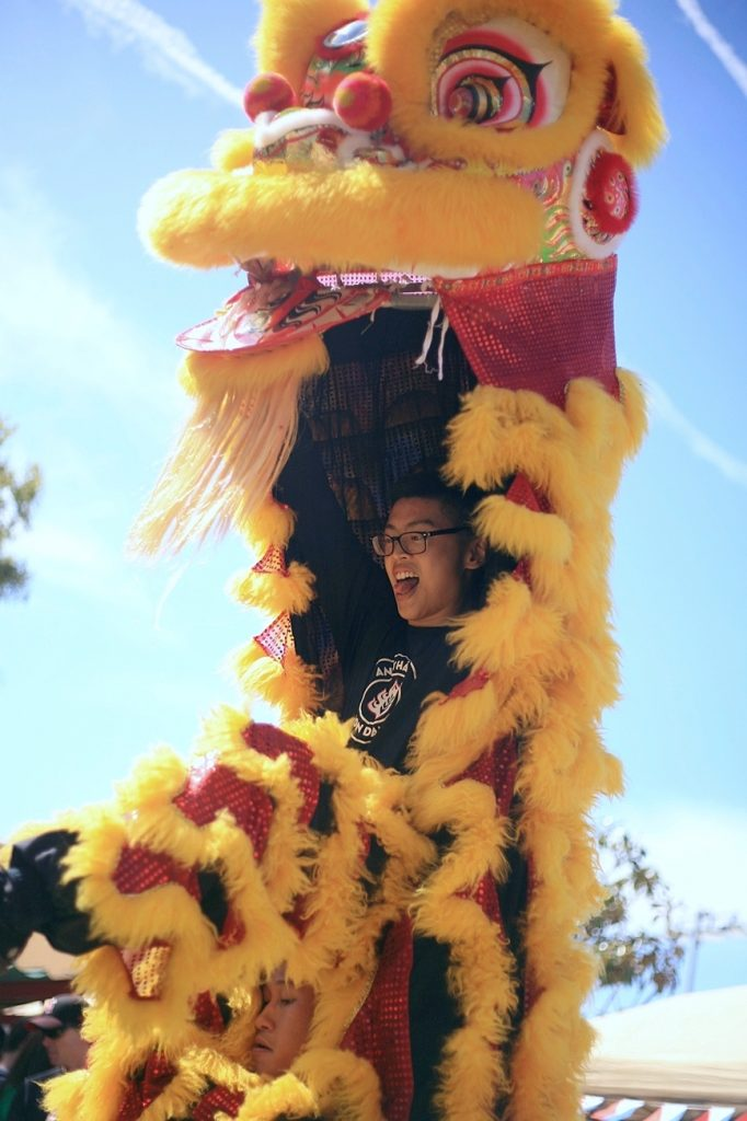 One of the dancers from the group, Ane Thanh's Chinese Lion Dancers, smiles as he performs in front of the crowd at the Multicultural Fair on Saturday. — Photo by Sara Hall ©