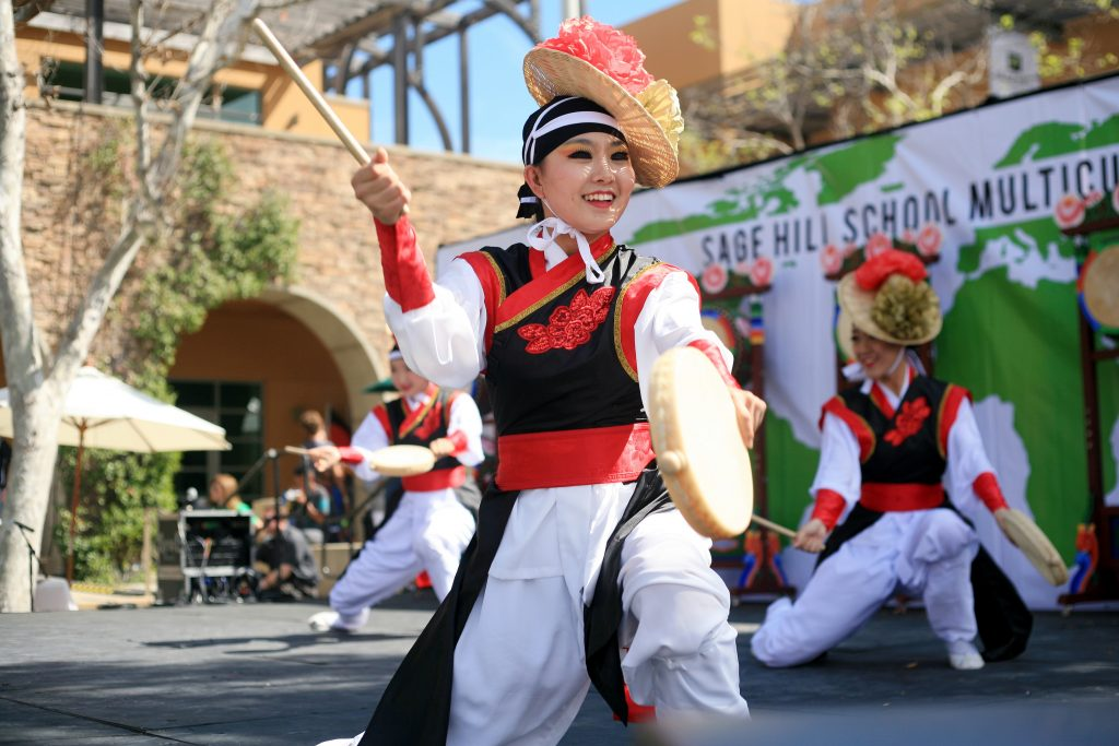 KAYPA (Korean American Youth Performing Artists) perform a Korean traditional drum dance at the Multicultural Fair. — Photo by Sara Hall ©