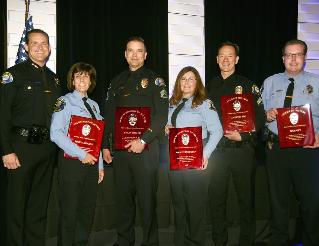 Pictured left to right: Chief Jon T. Lewis, Marcia Strack, Bryan Moore, Wendy Koudelka, Anthony Yim, and Nick Ott