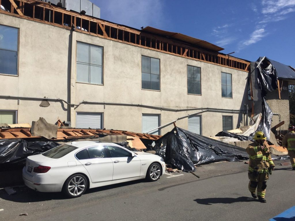 Damage from the structural collapse at 4341 Birch Street. — Photo courtesy Newport Beach Fire Department ©