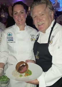 Rachel Haggstrom (Balboa Bay Resort) with Chef Pascal Hohats (Cafe Jardin at Sherman Gardens) - Photo by Chris Trela