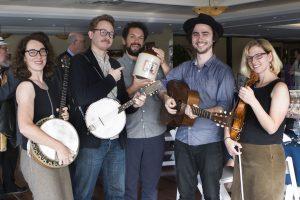 G Burns Jug Band – L to R – Meghan Welsh, Clint Davis, Jonathan Piper, Tim McNally and Batya MacAdam-Somer. Photo by Anne Chatillon