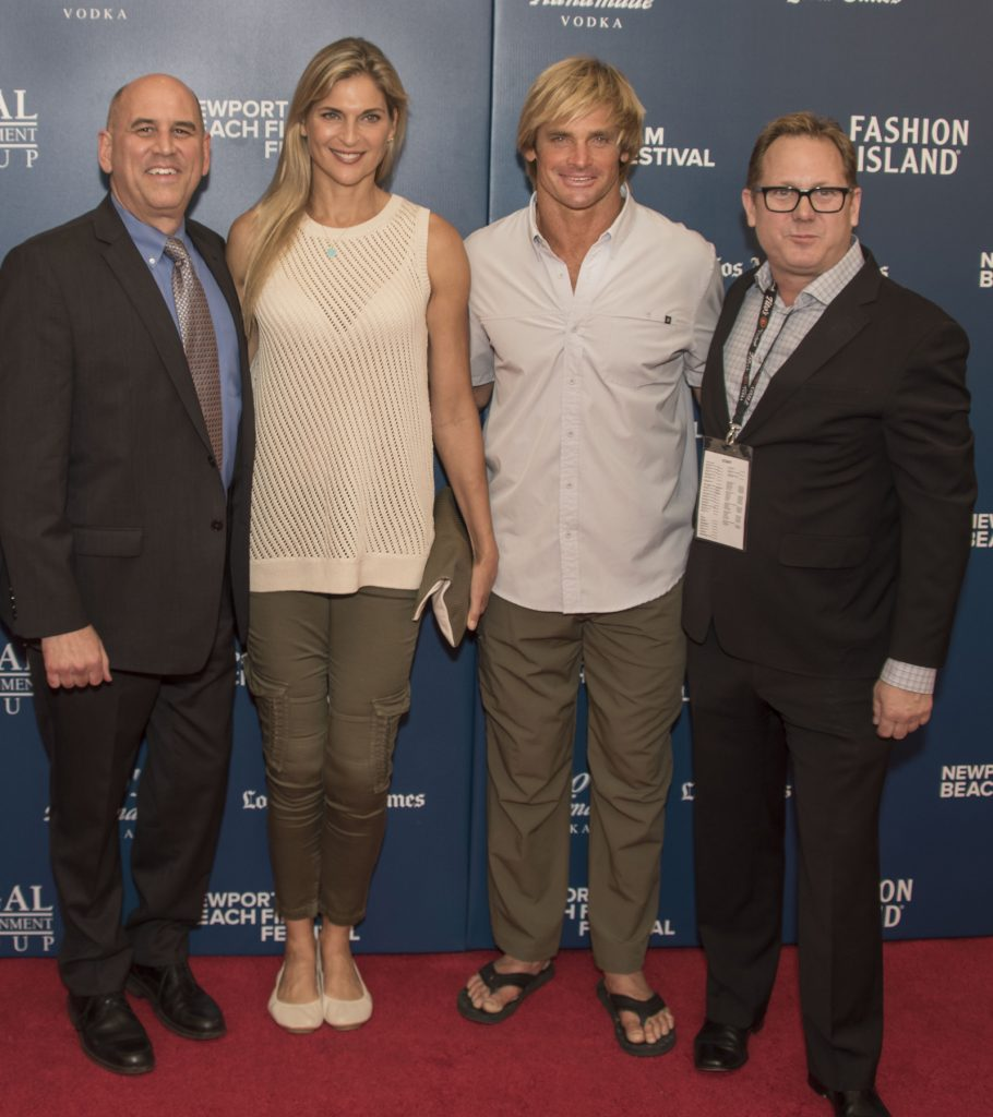 NB Film Fest co-founder and CEO Gregg Schwenk, Laird Hamilton, Gabby Reece, NB Film Fest co-founder and Director of Marketing Todd Quartararo / photo by Chuck Weinberg