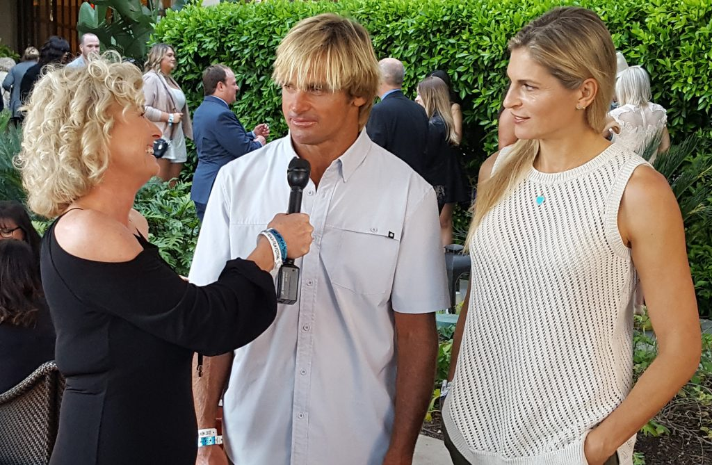 Lynn Selich interviews Laird Hamilton and Gabby Reece at the opening night VIP reception / photo by Chris Trela