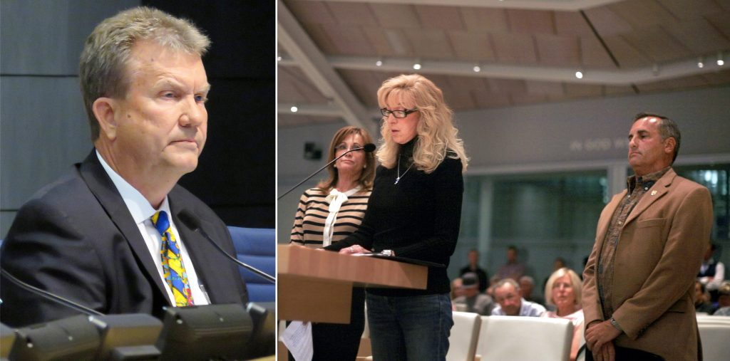 [left photo] Newport Beach City Councilman Scott Peotter listens as opponents raise concerns about him at the council meeting Tuesday. [right photo] Balboa Peninsula Lori Morris (center) explains her reasons for supporting the recall effort of Peotter alongside Harbor Commission Chairman and Corona del Mar resident Paul Blank and Big Canyon resident Lynn Swain.  — Photos by Sara Hall ©