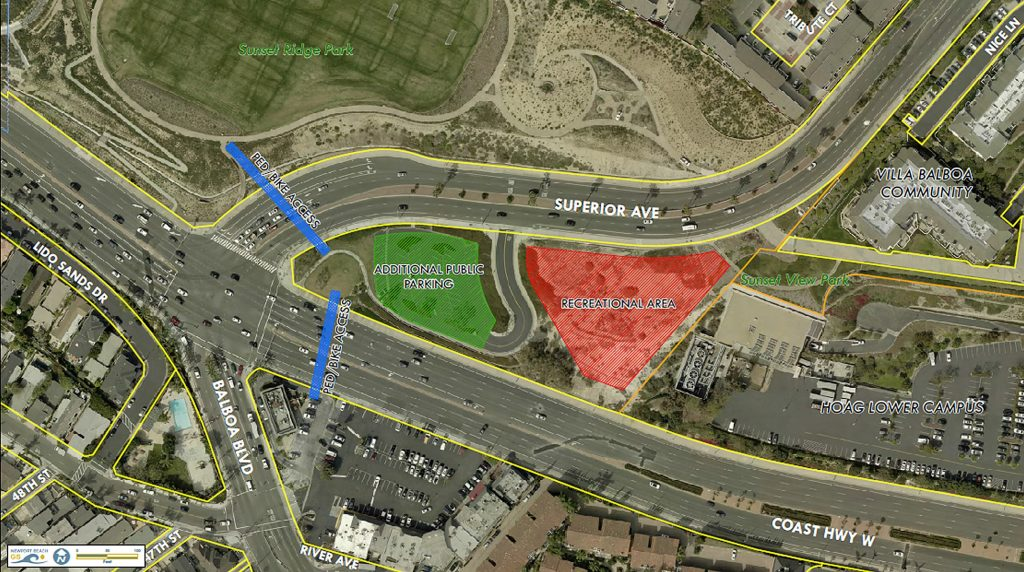 An aerial photo illustration of Lower Sunset View Park project location and proposed improvement areas. — Photo courtesy city of  Newport Beach ©