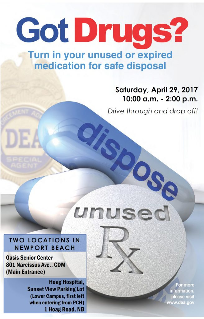 The poster for the Newport Beach Police Department and Drug Enforcement Administration National Prescription Drug Take-Back Day event on April 29. — Photo courtesy city of Newport Beach Police Department ©