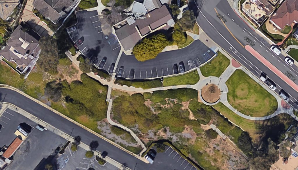 An aerial view of Ensign View Park, which the Newport Beach City Council voted on Tuesday to rename John Wayne Park, as seen from a Google satellite image.