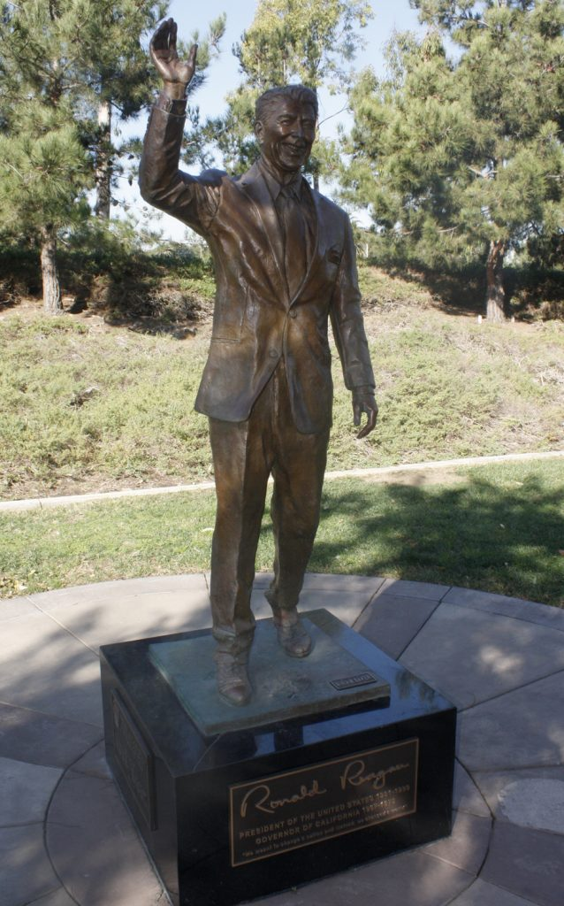 The statue of Ronald Reagan, which has resided in Bonita Canyon Sports Park since 2011, will be moved to Civic Center Park as part of a special condition on a City Council item regarding the Arts Commission on Tuesday night.  — NB Indy file Photo ©