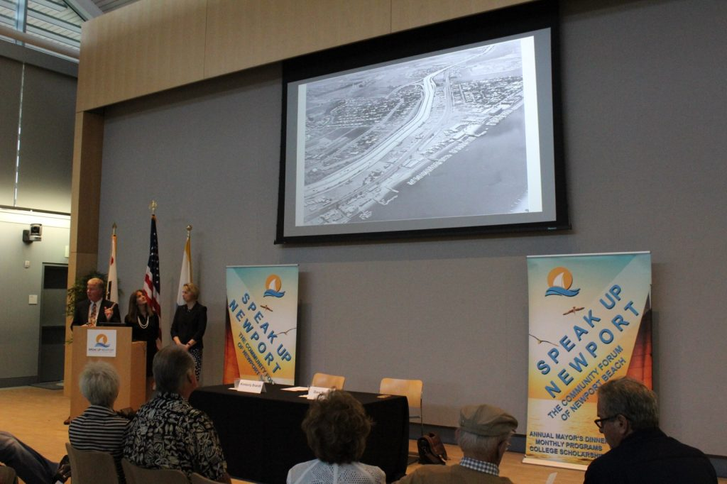 Newport Beach Public Works Director Dave Webb talks about the history of Mariners' Mile. — Photo by Victoria Kertz ©