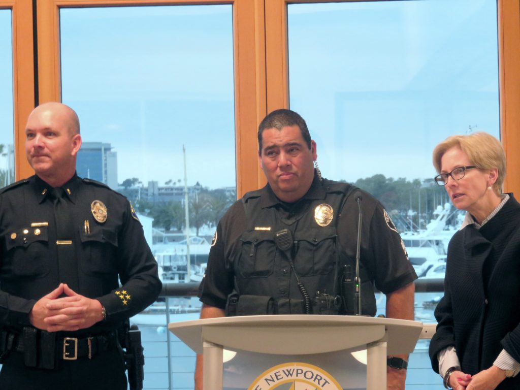 (left to right) Newport Beach Police Department Lt. Randy Querry, NBPD Sgt. Brandon Rodriguez, and NB City Councilwoman Diane Dixon talk about boardwalk safety and regulations during Monday's Town Hall meeting at Marina Park. — Photo by Sara Hall ©