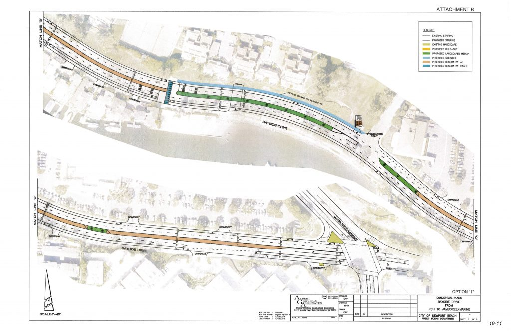 A draft concept plan of option one for the street layout of Bayside Drive approved Tuesday by Newport Beach City Council. (click to enlarge) — Photo courtesy the city of Newport Beach ©