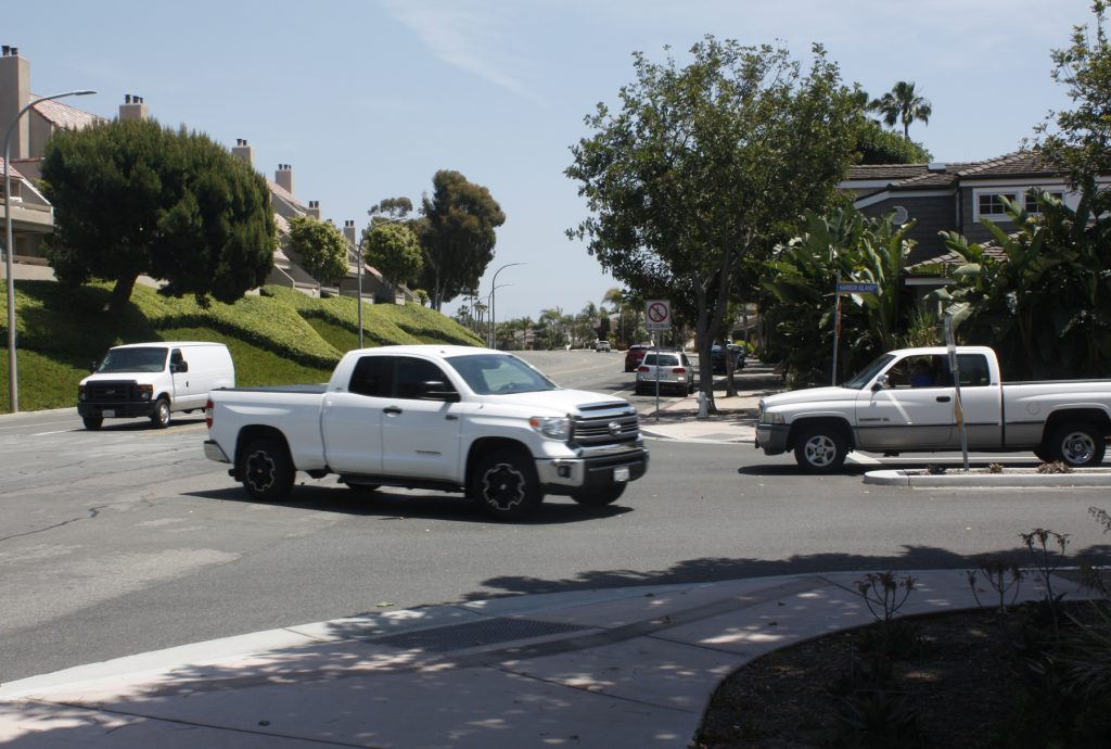 The intersection at Bayside and Harbor Island drives, one of the main points of contention during the Newport Beach City Council discussion Tuesday about the street layout of Bayside Drive. — Photo by Christopher Trela ©