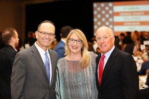 Allen Staff, market president and region executive for Bank of America; Shelley Hoss, president of Orange County Community Foundation (OCCF); Patrick S. Donahue, chairman and chief executive officer of Donahue Schriber Realty Group.